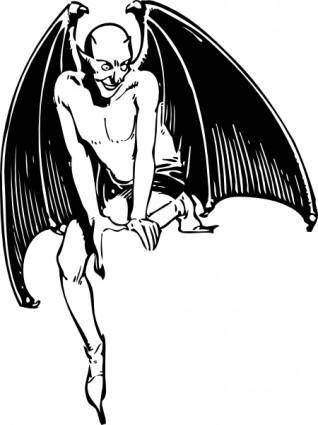 Squatting Devil clip art