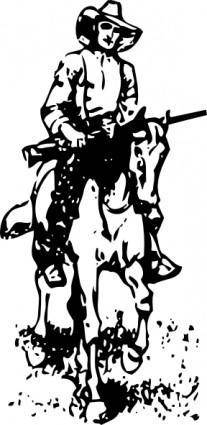 Cowboy On A Horse clip art