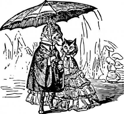 free vector Dog  Cat  Umbrella clip art