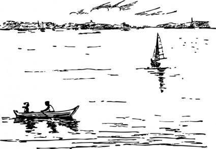 free vector Boating Scene clip art