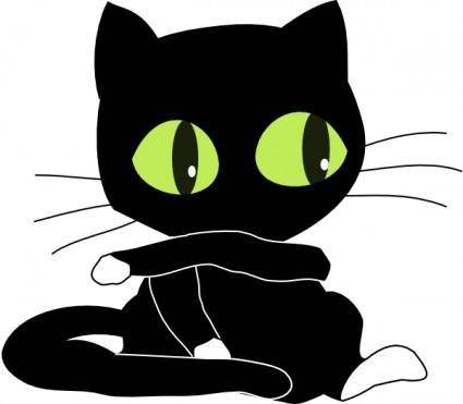 Antontw Blackcat With White Sockets clip art