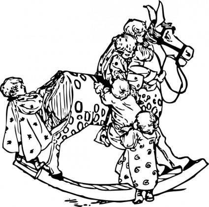 Toddlers On A Rocking Horse clip art