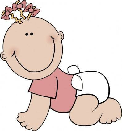 Baby Girl Crawling clip art
