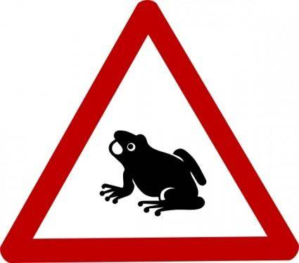Frog Cautio Sign clip art