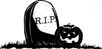 Gravestone With Pumpkin clip art