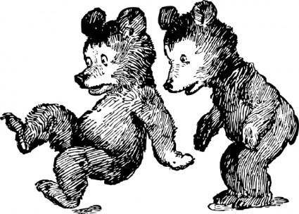 Startled Bears clip art