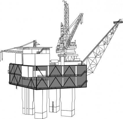 free vector Oil Rig Black And White clip art