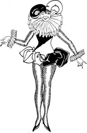 Harlequin Woman clip art