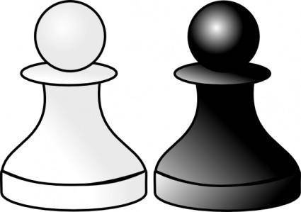free vector Black And White Pawns clip art