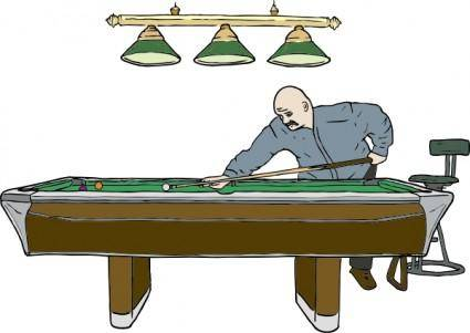 Pool Table With Player clip art