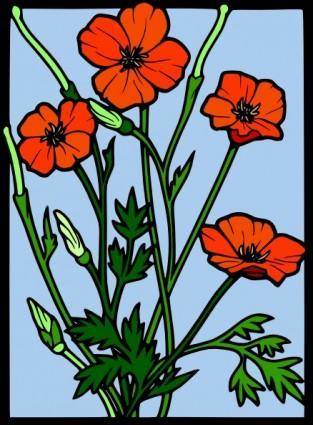free vector Flowers Drawing On Glass clip art
