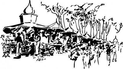 free vector Flower Market Marseilles clip art