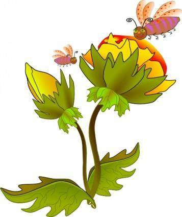 free vector Bee And Flower clip art