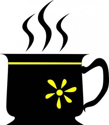 Yuri Black Cup With Yellow Flower clip art