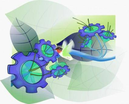 free vector Gearflowers clip art