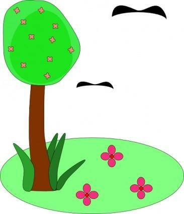 free vector Tree Birds Flowers Cartoon clip art