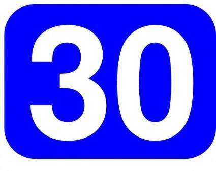 Blue Rounded Rectangle With Number 30 clip art
