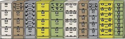 Colored Filing Cabinets clip art
