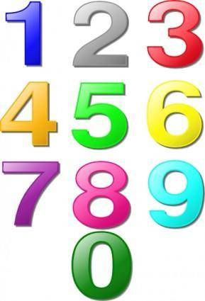 free vector Colorful Numbers clip art