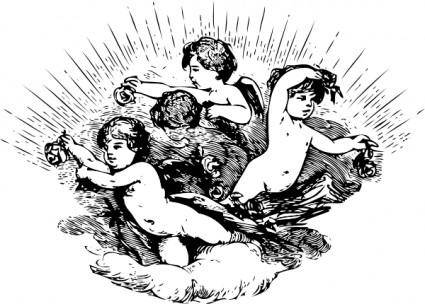 Cherubs In Cloud clip art