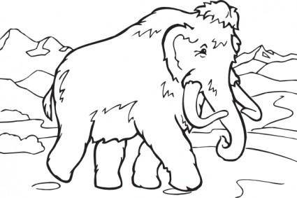 Coloring Book Mammoth clip art