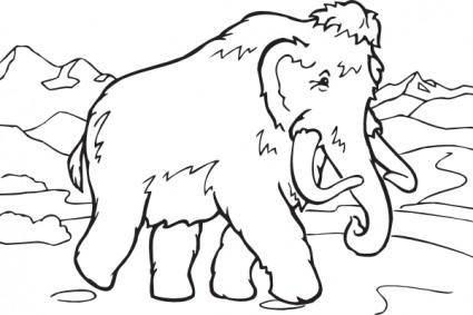 Coloring Book Mammoth clip art
