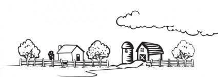 free vector Coloring Book Farm Landscape clip art