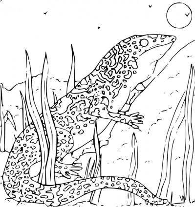 free vector Coloring Book Monitor Gecko clip art