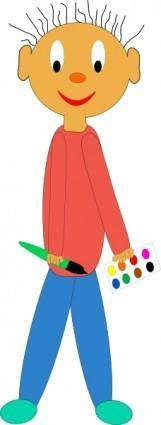 Kid Holding Paint Brush clip art