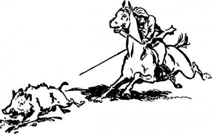 Boar Hunt Cowboy Horse clip art