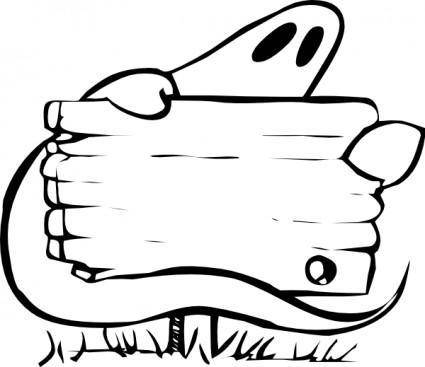 Ghost With Sign clip art