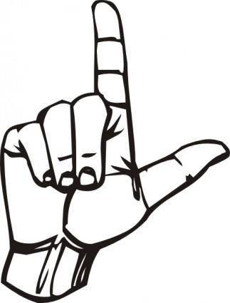 free vector Sign Language L clip art