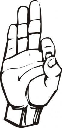 free vector Sign Language F clip art
