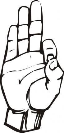 free vector Sign Language F clip art