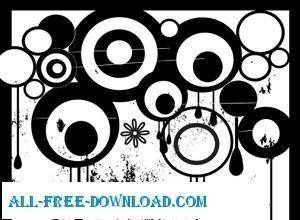 Grungy nasty circles vector with drips and removab
