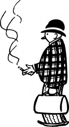 Funny Little Cigar Smoker clip art
