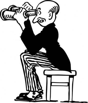 Man Using Binoculars clip art