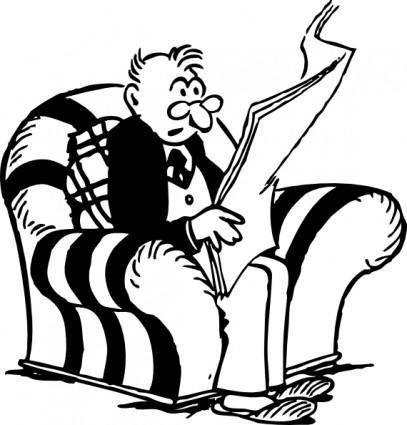 free vector Man Reading Newspaper clip art