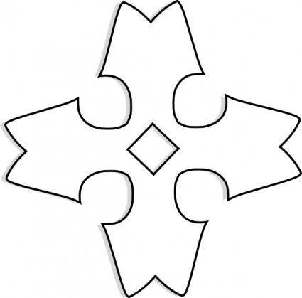 Shaded Heraldic Cross Outline clip art