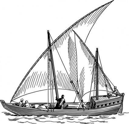 free vector Dhow Sail Boat clip art