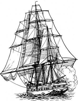 free vector Frigate Ship clip art