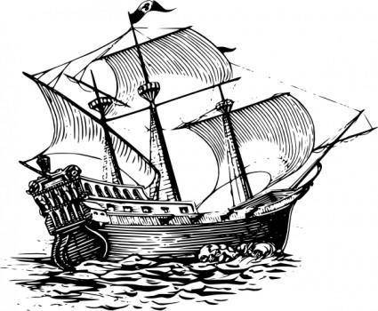 free vector Galleon Sail Ship clip art