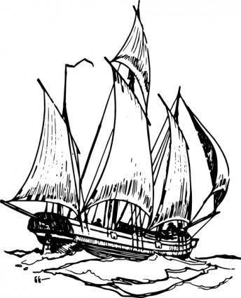 free vector Lugger Ship clip art