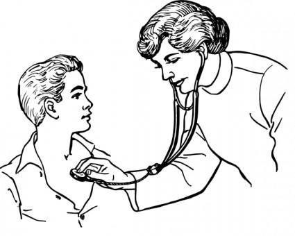 free vector Doctor Examining A Patient clip art