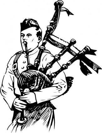 Man Playing Bagpipes clip art