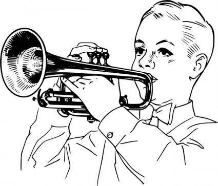 free vector Boy Playing Cornet clip art