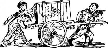Cart Carrying A Crate clip art