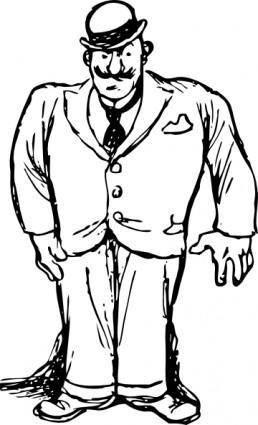 Clothing Man Wearing Bowler Hat clip art