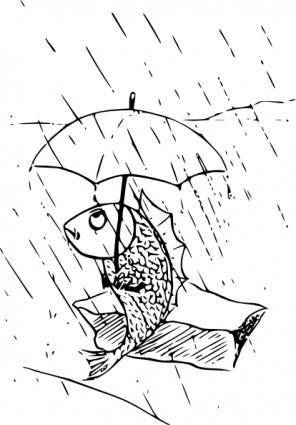 Fish With Umbrella clip art