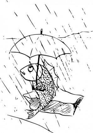 Fish With Umbrella clip art